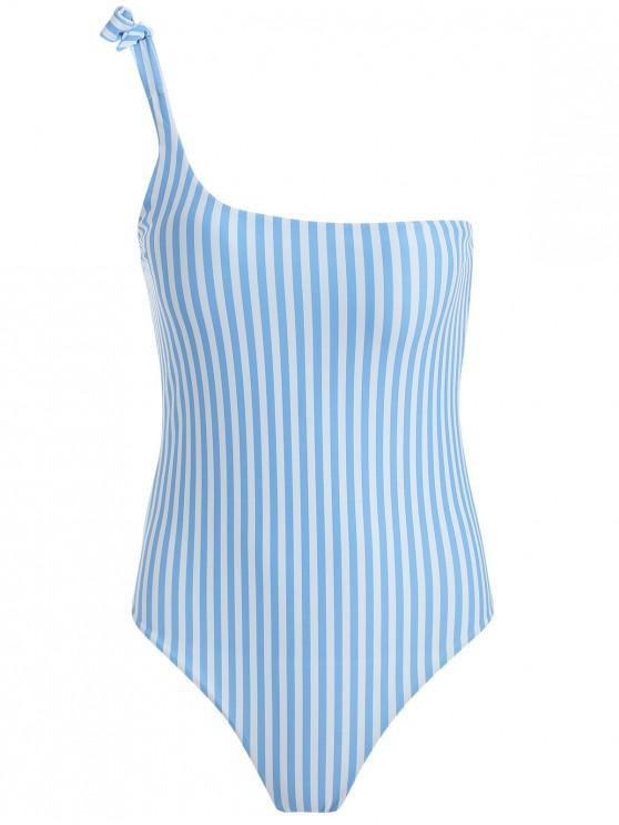 unique Tied One Shoulder Striped High Cut Swimsuit - CRYSTAL BLUE M