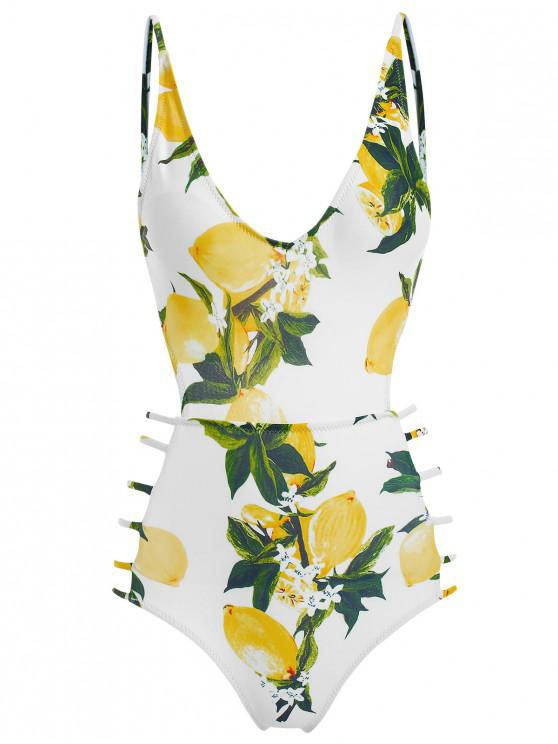 Costume Da Bagno Stampato Limone Con Spalline - Bianca S
