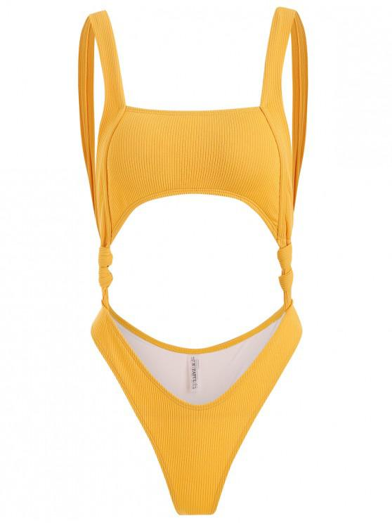 fancy Knot Ribbed Cut Out Swimsuit - GOLDEN BROWN S