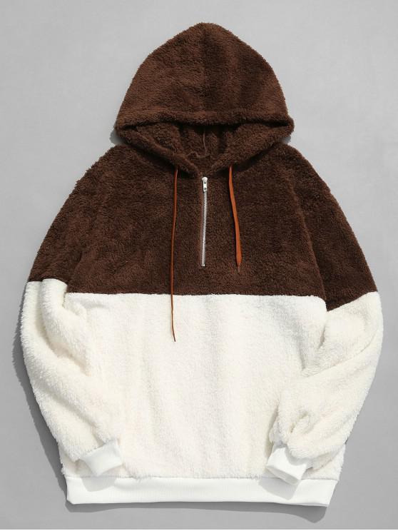 unique Faux Fur Half Zip Panel Hoodie - COFFEE XL