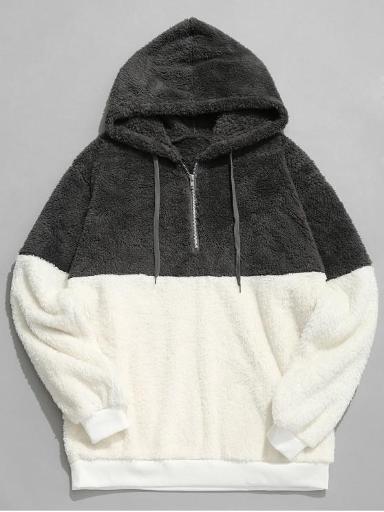 women Faux Fur Half Zip Panel Hoodie - DARK GRAY L