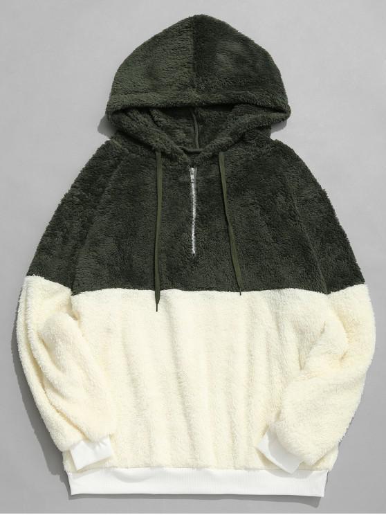 best Faux Fur Half Zip Panel Hoodie - DARK GREEN S