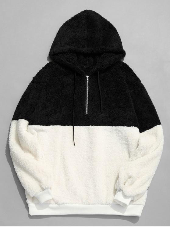 women Faux Fur Half Zip Panel Hoodie - BLACK XL