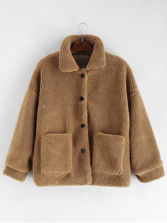 Sólido botón hasta la chaqueta mullida - Camel Marrón M