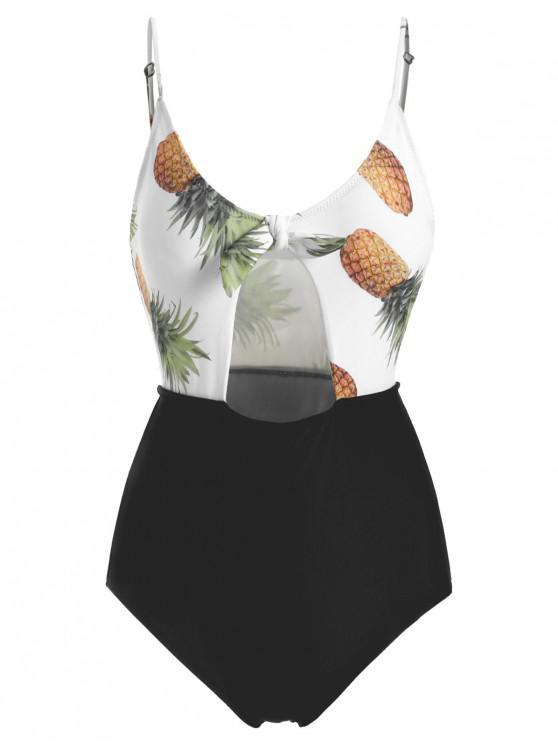 Costume Da Bagno Annodato A Taglio Alto Con Stampa Ananas - Bianco L