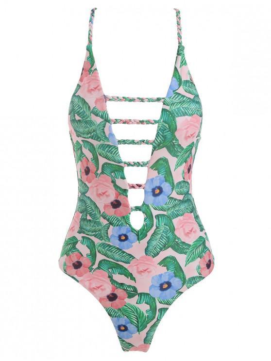 Costume Da Bagno Stampato Foglie E Fiori Con Spalline Intrecciate Incrociate - Multi Colori L