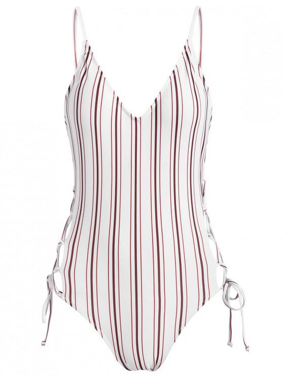 ladies Striped Lace Up Backless Swimsuit - WHITE L