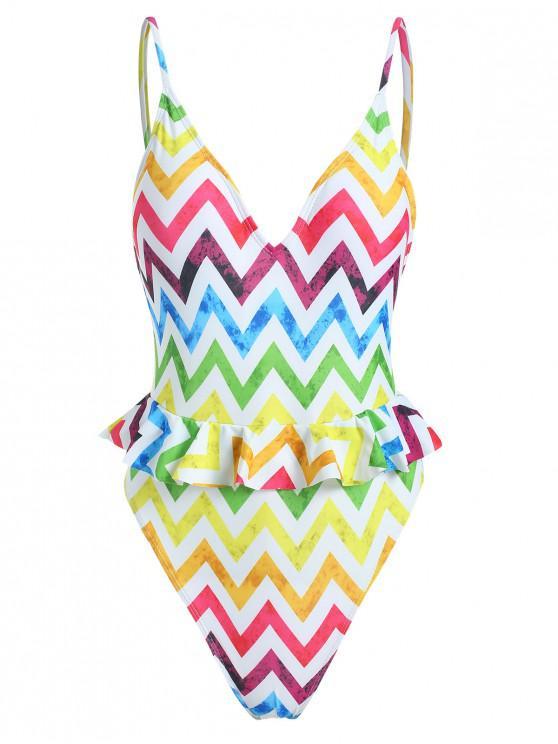 sale Zig Zag Ruffle Backless Swimsuit - MULTI-A L