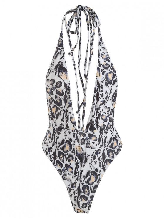 Costume Da Bagno Con Stampa Leopardata Senza Schienale - Bianco caldo S