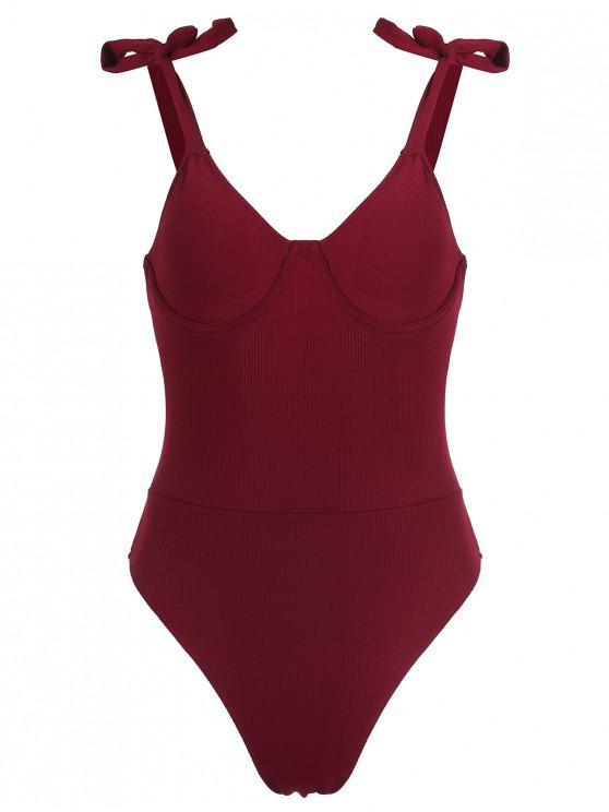 Zaful com nervuras Underwire Tie Swimsuit Ombro - Vinho Tinto S