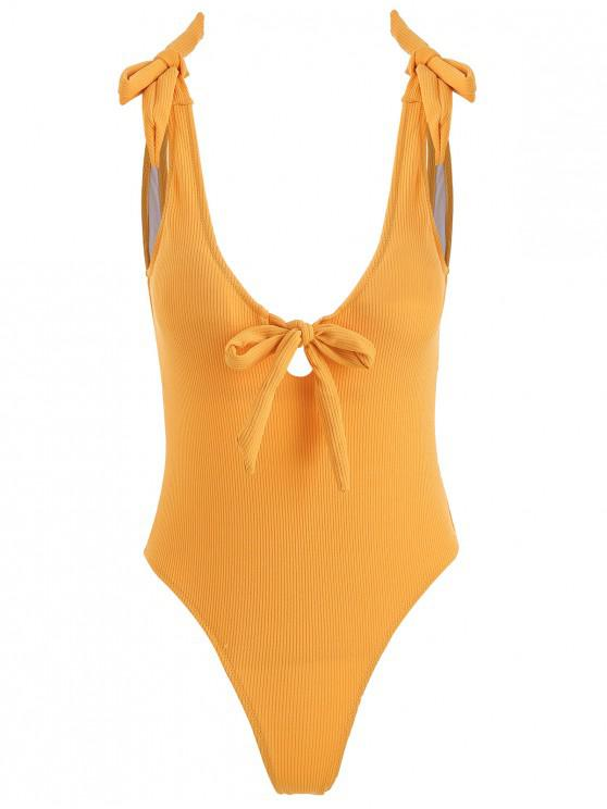 new Ribbed Bowknot Plunging Swimsuit - BRIGHT YELLOW L