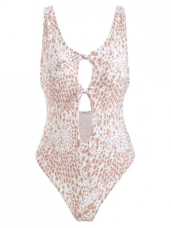 shop Tied High Cut Patterned Swimsuit - MULTI S