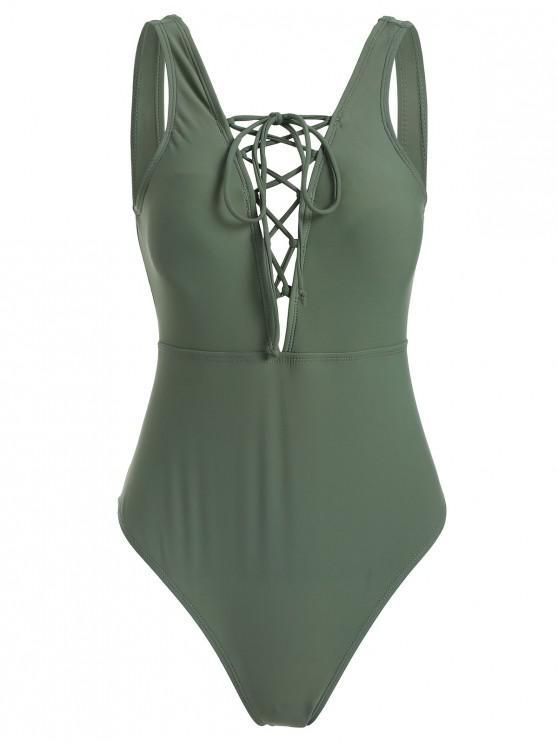 Costume Da Bagno A Taglio Alto A Scollo Profondo Con Lacci Anteriori - Verde del Mare Nero M