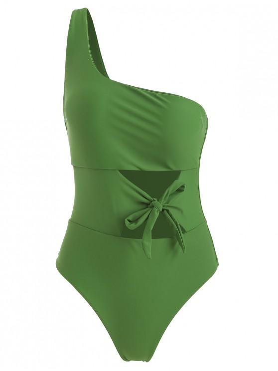 Costume Da Bagno Intero Annodato Tagliato A Monospalla - Verde Primavera S
