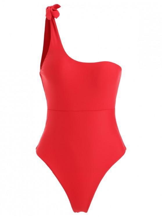 Costume Da Bagno Annodato A Monospalla Con Taglio Alto - Rosso Lava  M