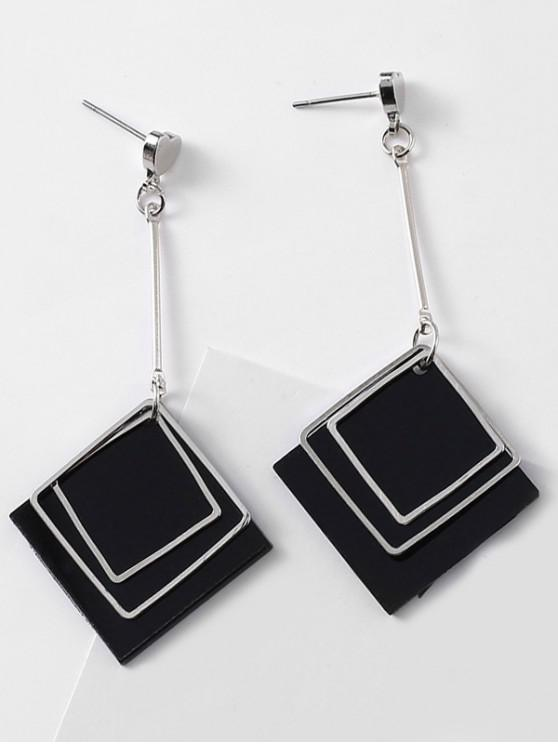 shop Rhombus and Heart Design Drop Earrings - BLACK