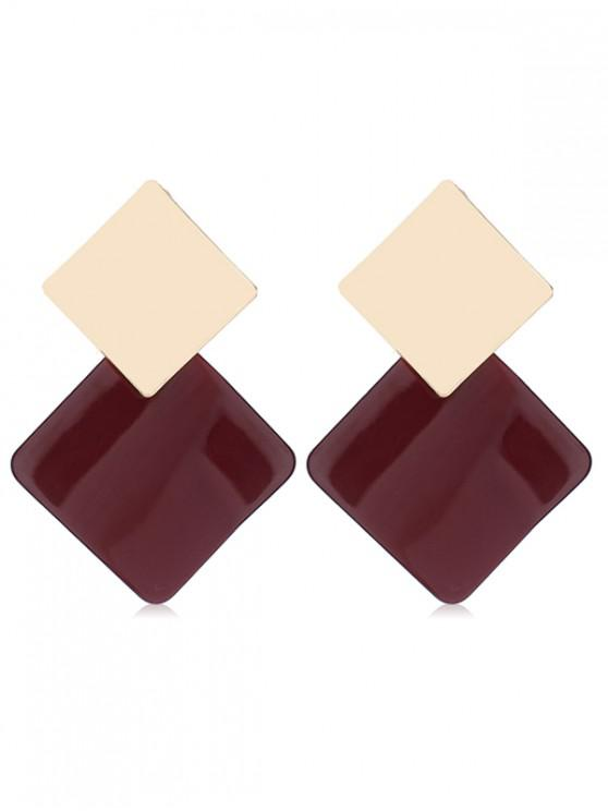 Unique Geometric Color Block Design Alloy Earrings Red Wine