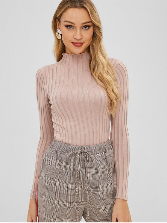 women Slim Knit High Neck Sweater - LIGHT KHAKI ONE SIZE