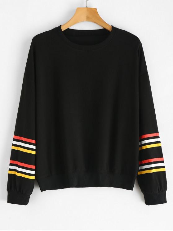 best Striped Sleeve Jersey Sweatshirt - BLACK M