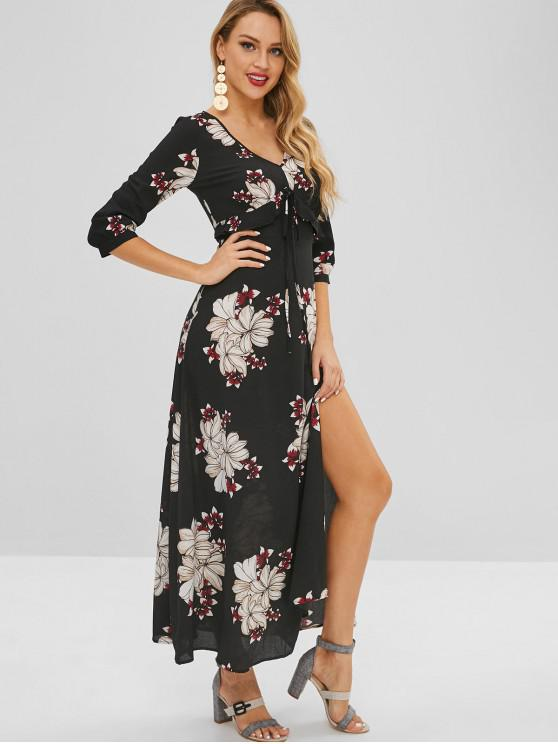 unique Bohemian Flower Print Maxi Slit Dress - BLACK L