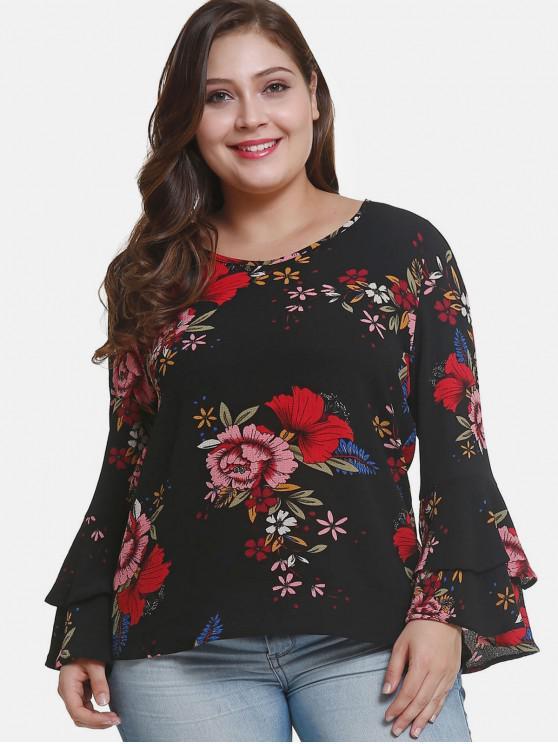 sale Flare Sleeve Plus Size Floral Blouse - BLACK 3X