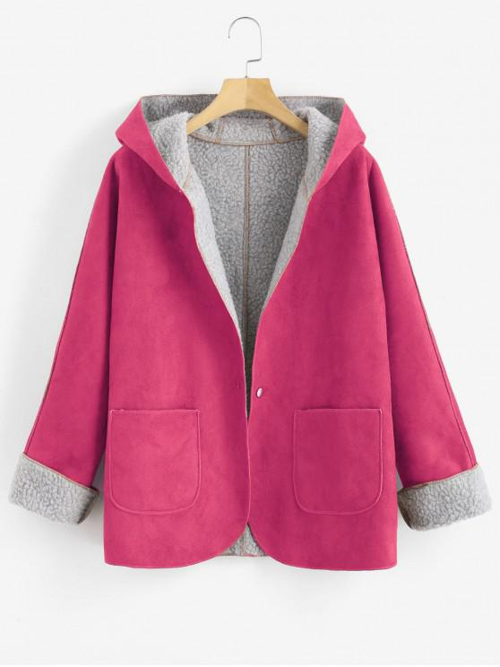 outfits Cuffed Sleeves Hooded Sheepskin Coat - BURNT PINK M