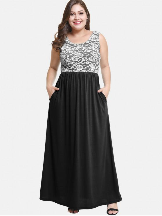 31% OFF] 2019 Lace Insert Maxi Plus Size Prom Dress In BLACK   ZAFUL