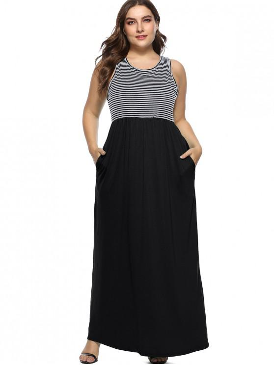 Sleeveless Plus Size Striped Maxi Dress BLACK JUNGLE GREEN