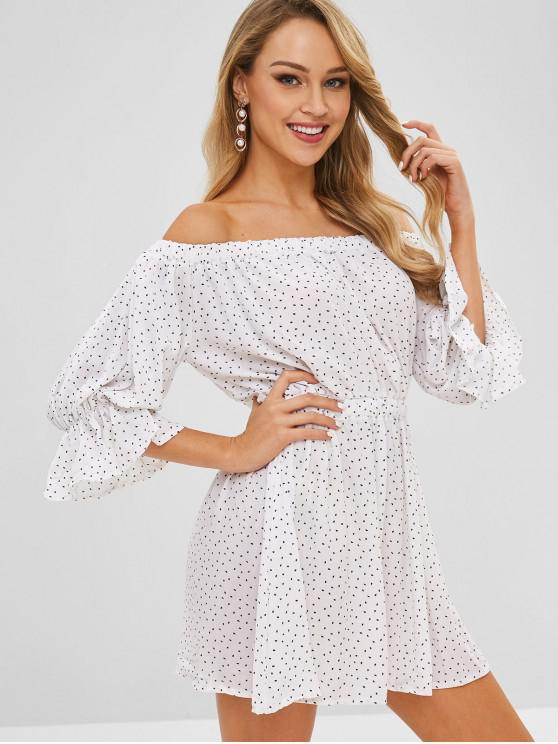 hot Speckled Off The Shoulder Mini Dress - WHITE M