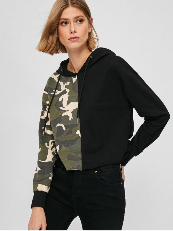 fashion ZAFUL Raw Hem Camo Print Hoodie - MULTI L