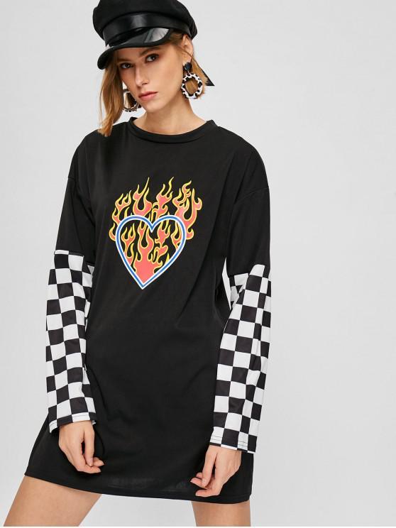 فستان بنمط قلب - أسود S