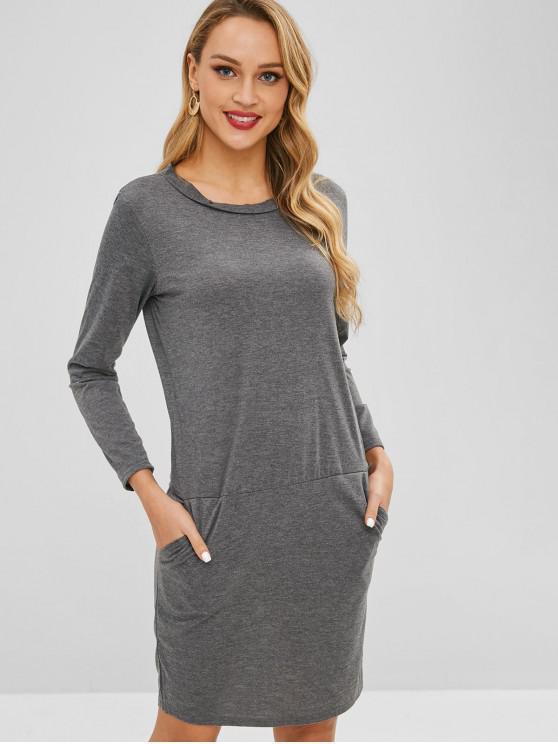 b8820db5d400 29% OFF  2019 Plain Long Sleeves Shift Dress In GRAY