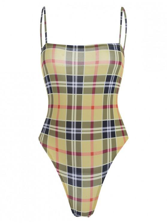 lady Snap Button Cami Plaid Bodysuit - SUN YELLOW S