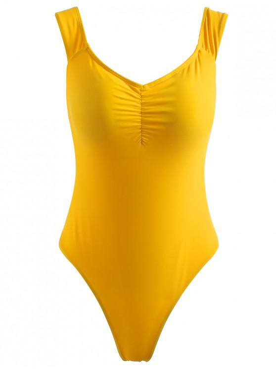 ladies ZAFUL Off Shoulder Ruched Swimsuit - RUBBER DUCKY YELLOW S