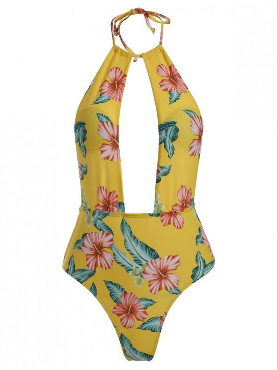Traje de baño floral de pierna alta - Vara de Oro S