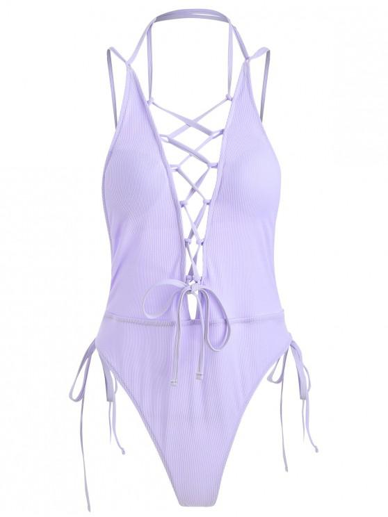 women Lace-up Ribbed Thong Swimsuit - LAVENDER BLUE S