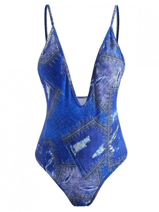 Costume Da Bagno Stampato In Denim Con Scollo Profondo - Blu Cobalto L
