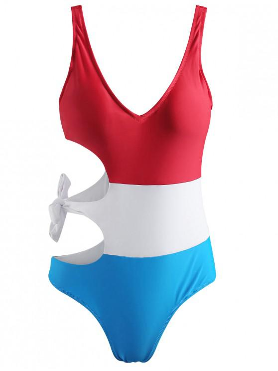 hot Color Block Tie Cut Out Swimsuit - MULTI S