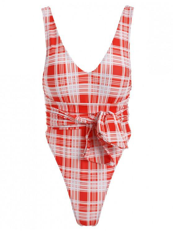 unique ZAFUL Tartan Knotted Backless One-piece Swimsuit - RED M