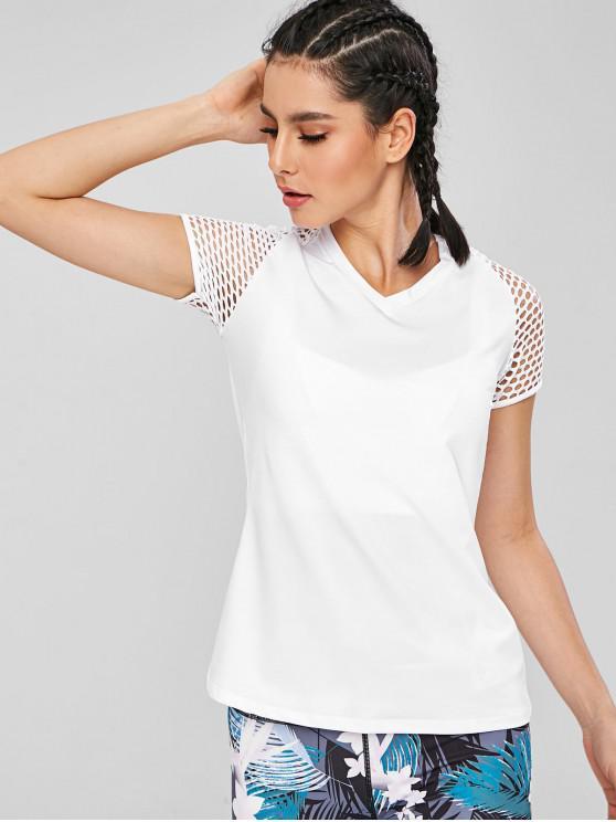 Mesh-Raglan-Ärmel Gymnastik-T-Shirt - Weiß L