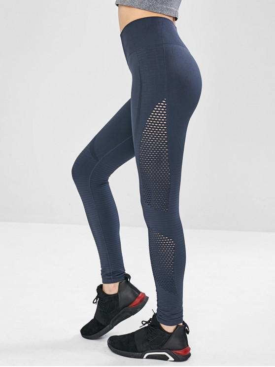 shop Seamless Perforated Compression Sports Leggings - DARK SLATE BLUE M