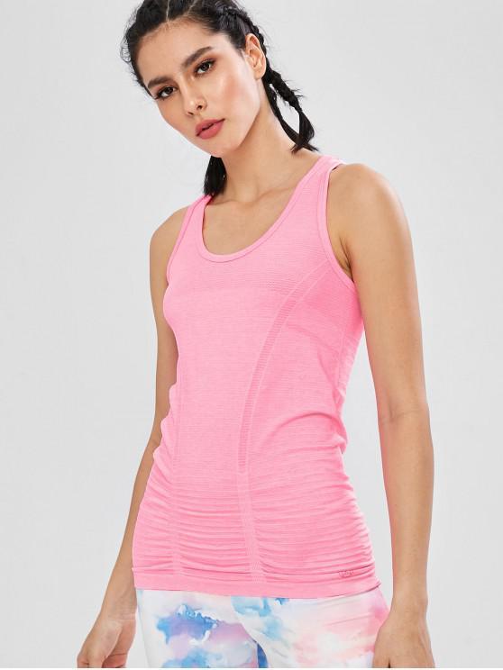Racerback-nahtloses Gymnastik-Sport-Trägershirt - Helles Rosa L