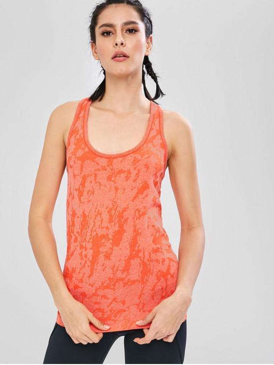 Débardeur de Sport Sans Couture au Dos Nageur - Orange de Lever du Soleil L