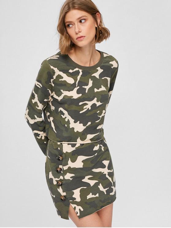 women's ZAFUL Camo Sweatshirt and Skirt Set - ACU CAMOUFLAGE S