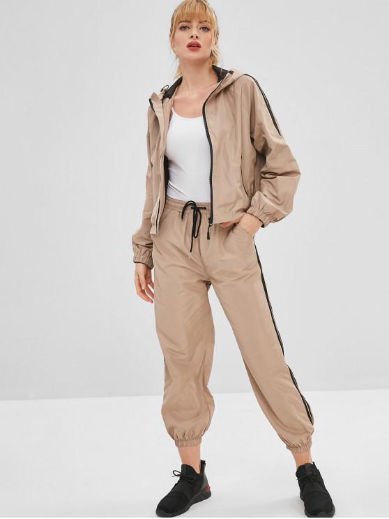 Jaqueta de ginástica com capuz esporte e conjunto de calças - Cor de Caqui L