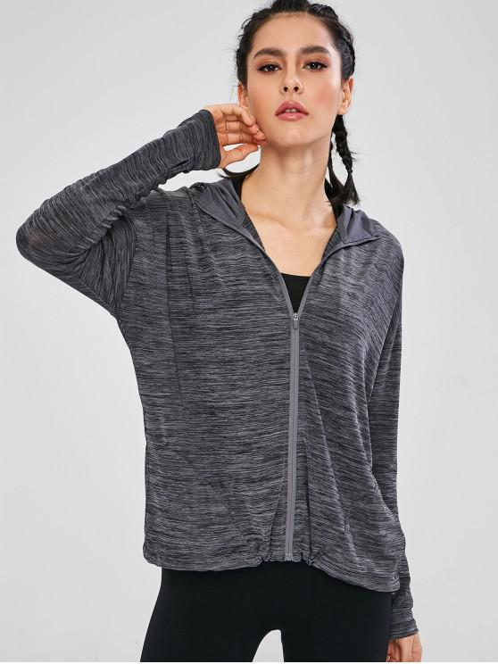 women Hooded Heather Sports Track Jacket - GRAY L