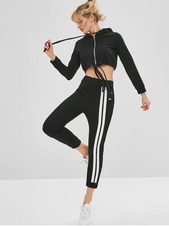 outfit Crop Gym Sport Hoodie and Pants Set - BLACK M