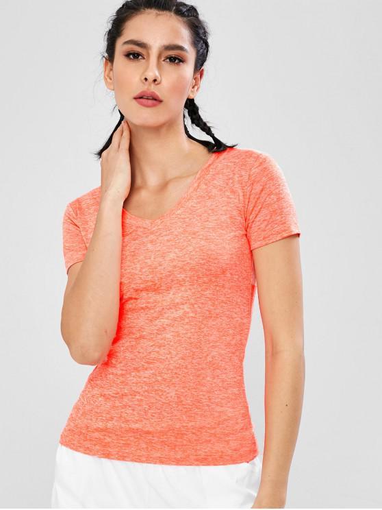 Space Dye - T-Shirt mit V-Ausschnitt - orange  L