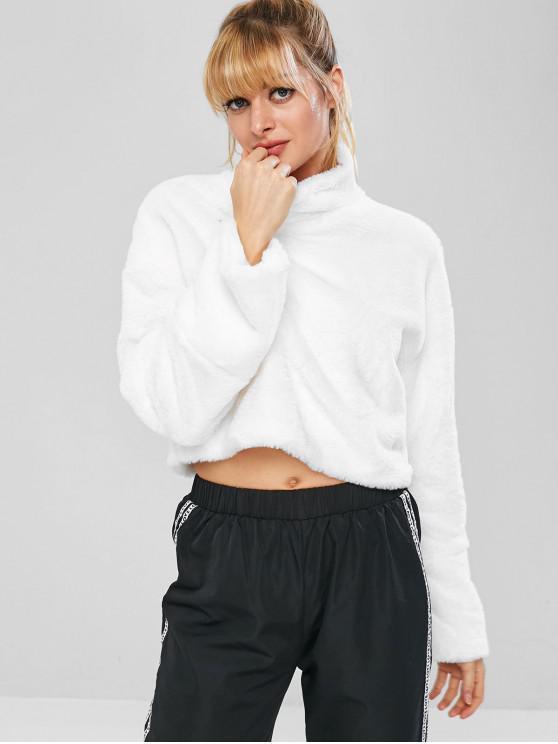 outfit Fluffy Drop Shoulder Crop Teddy Sweatshirt - WHITE M