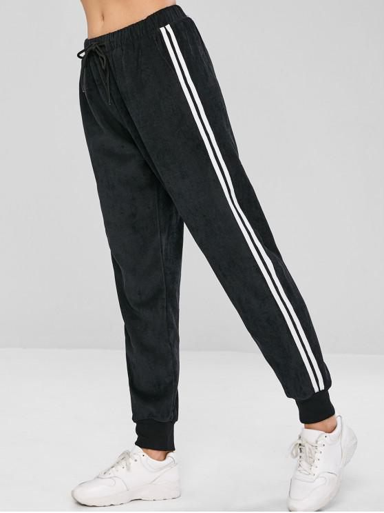 Pantaloni Da Jogging In Velluto A Coste A Righe Laterali Con Coulisse Di ZAFUL - Nero S